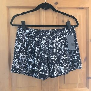 Massimo Black White Flowy Mini Shorts